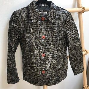 Vtg B Lucid Animal Print Leather Jacket Sz M